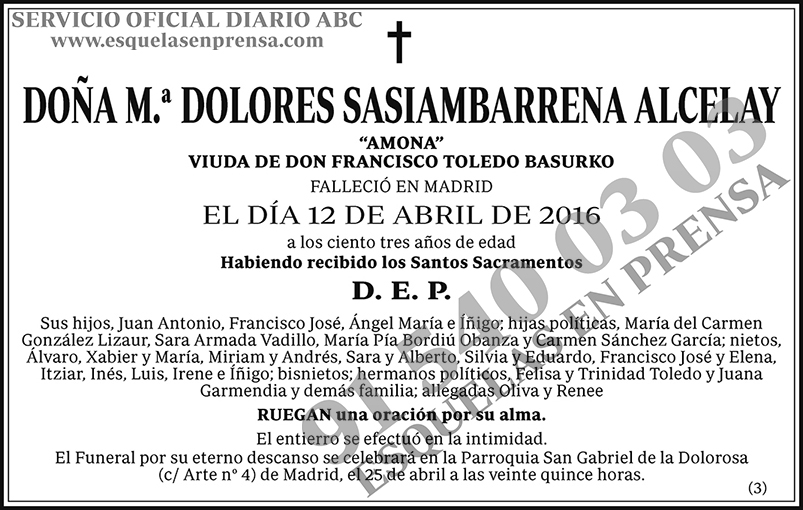 M.ª Dolores Sasiambarrena Alcelay